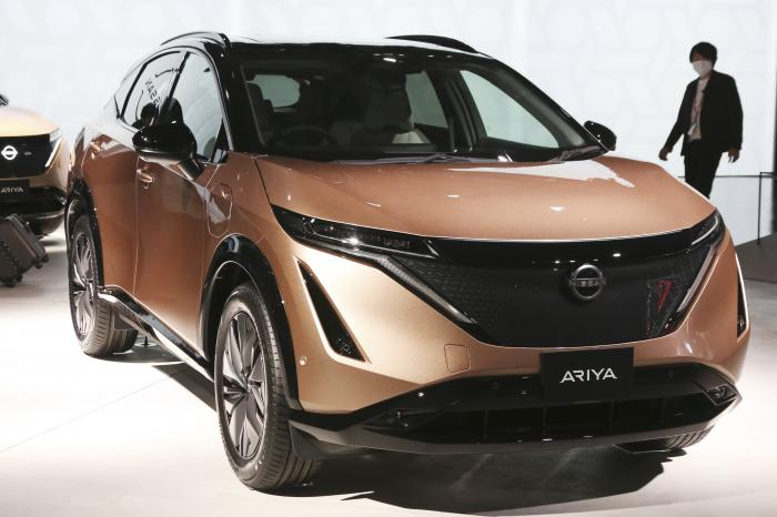 Nissan Motor Co.'s new electric crossover Ariya is displayed at Nissan Pavilion in Yokohama near Tokyo Tuesday, July 14, 2020