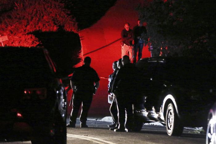 Contra Costa County Sheriff deputies investigate a multiple shooting on Halloween at an Airbnb rental home in Orinda, Calif. (October, 2019)