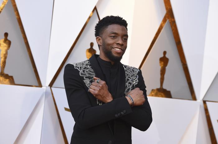 In this March 4, 2018 file photo, Chadwick Boseman arrives at the Oscars at the Dolby Theatre in Los Angeles.