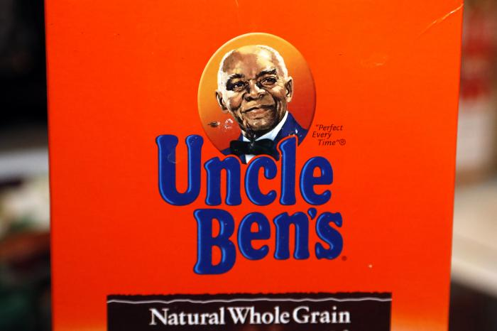 "The portrait of ""Uncle Ben's"" is portrayed on a box of rice."