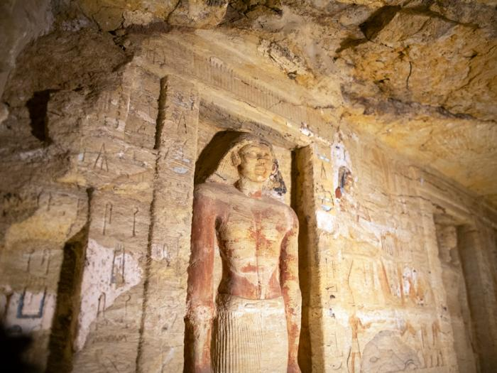 One of the discovered tombs at the Saqqara archaeological site is shown, 30 kilometers (19 miles) south of Cairo, Egypt, Saturday, Oct. 3, 2020