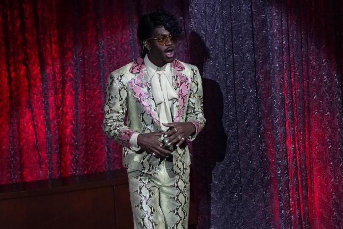 """Lil Nas X accepts the award for top hot 100 song for """"Old Town Road""""at the Billboard Music Awards."""
