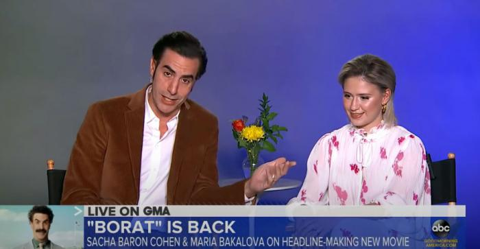 "Sacha Baron Cohen and Maria Bakalova on ""Good Morning America"" on Friday"