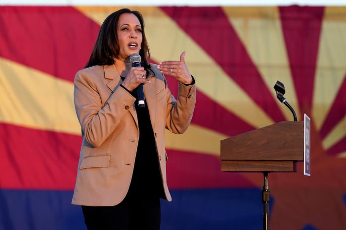 Democratic vice presidential candidate Sen. Kamala Harris, D-Calif., speaks at a mobile campaign event, Wednesday, Oct. 28, 2020, in Phoenix.