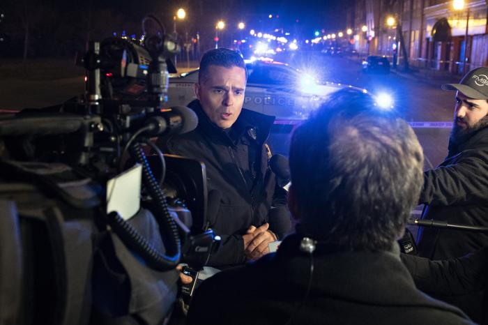 Quebec police force spokesman Etienne Doyon responds to reporters' questions in relation to stabbings early Sunday, Nov. 1, 2020 in Quebec City, Canada