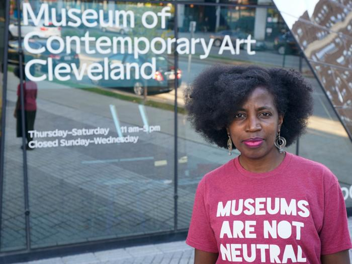 La Tanya Autry, a curatorial fellow at The Museum of Contemporary Art Cleveland, poses outside of the museum in Cleveland on Thursday, Oct. 8, 2020