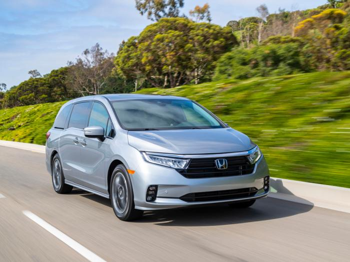 This photo provided by Honda shows the 2021 Honda Odyssey, which has been Edmunds' top-rated minivan since this generation was introduced in 2018. For 2021 it gets a mild update.