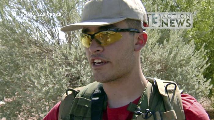 This Sept. 22, 2016, file photo taken from video from KTNV 13 Action News shows Conor Climo during an interview while walking a Las Vegas neighborhood