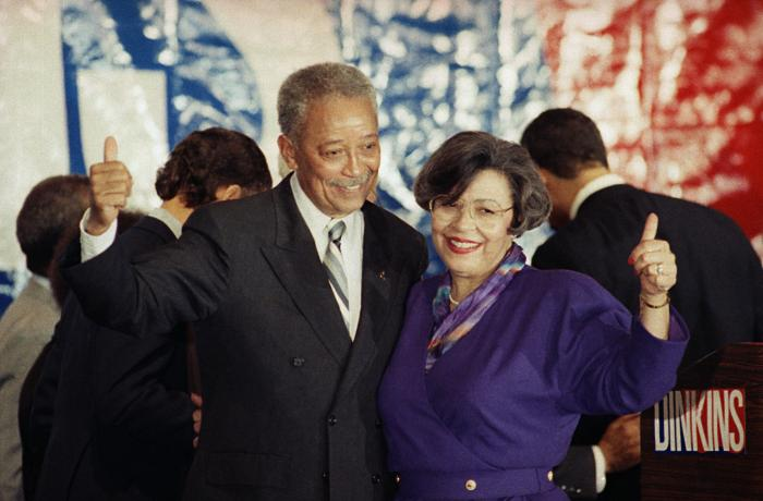 David Dinkins and his wife, Joyce, give thumbs-up to supporters after he won the mayoral race in New York in 1989.