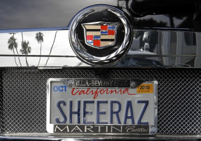 An SUV with a personalized license plate is seen in Beverly Hills, Calif.