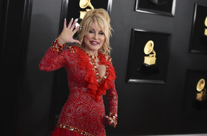 Dolly Parton arrives at the 61st annual Grammy Awards.