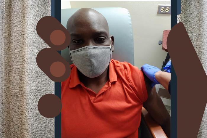 "J. Shawn Durham receives his first covid vaccination shot at a medical facility in Washington, D.C. His social media post was about role-modeling. ""The white and the wealthy are getting vaccinated,"" he says. ""I want Black people to want to get vaccinated too."""