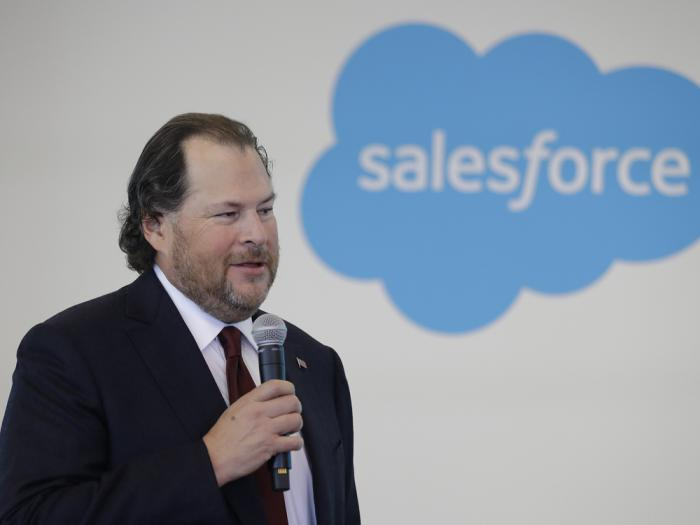 In this Thursday, May 16, 2019, file photo, Salesforce chairman Marc Benioff speaks during a news conference, in Indianapolis